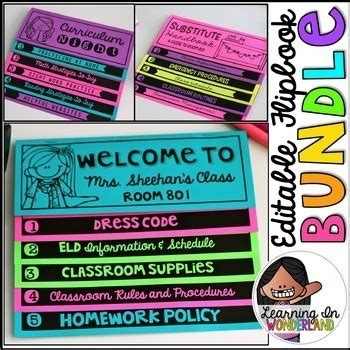 Open House Meet The Teacher Editable 2 Sided Flipbook Bundle No Cut Books Flip Book Templates For Teachers