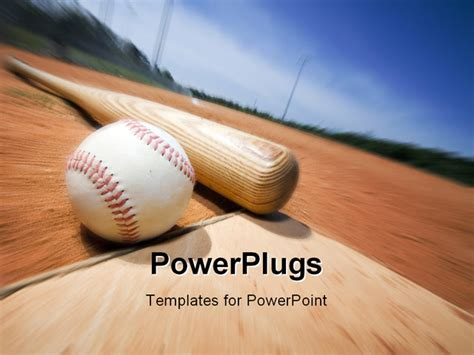 baseball powerpoint template free baseball and bat on home plate of a ballpark powerpoint