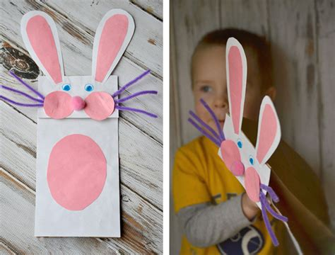 Paper Bag Bunny Craft - 62 easy easter craft ideas for personal creations