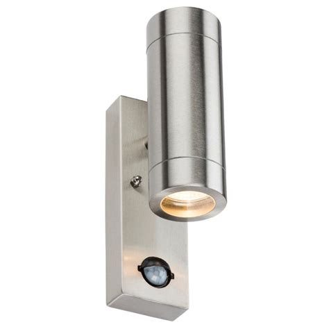stainless steel up outdoor wall light with pir motion