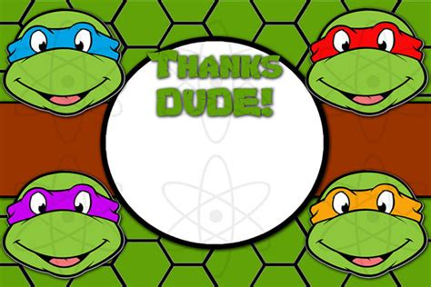teenage mutant ninja turtles free printable thank you cards instant download teenage mutant ninja turtles thank you
