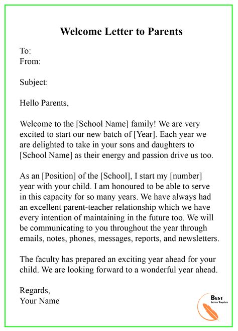 Welcome Letter Template Format Sample Amp Example