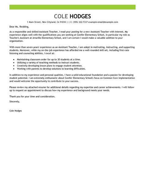 cover letter for a teaching assistant best assistant cover letter exles livecareer