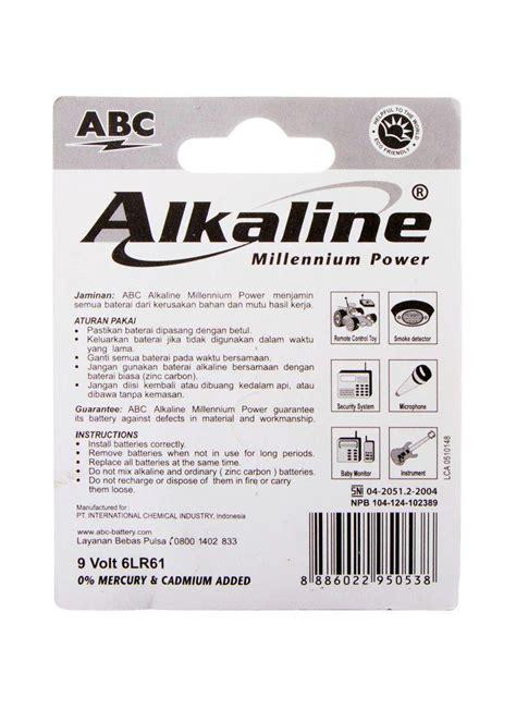 Baterai Abc R14 Standart Biru 2s abc battery alkaline 9 volt 6lr61 millennium pwr pck