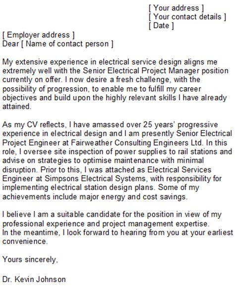 experienced engineer cover letter electrical engineering cover letter sle