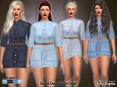 Top 10 Home Decor Websites The Sims Resource Set28 Belted Denim Shirt Dress By