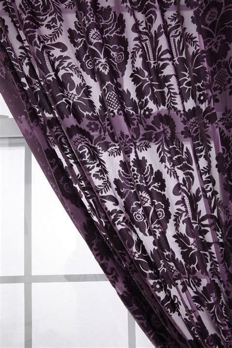Black Damask Curtains Damask Velvet Burnout Curtain