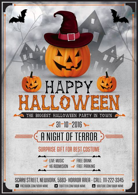 halloween templates for flyers free halloween scary night flyer template psd graphic google