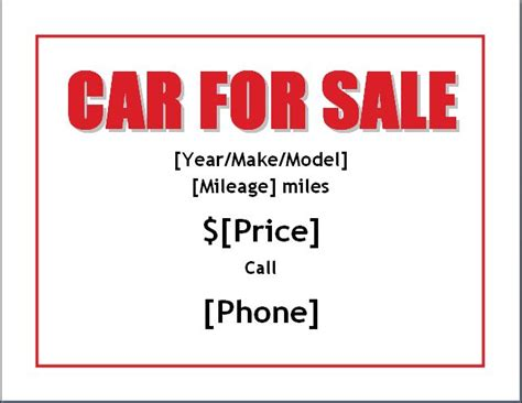 car for sale template sle car for sale poster flyer template formal word