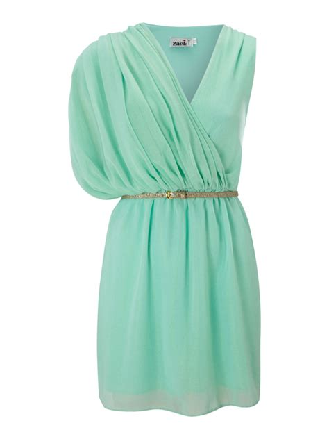 zack sleeveless grecian dress with a sequin belt in