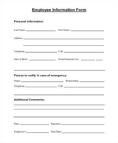 employee information form template free sle employee information forms 8 free documents in