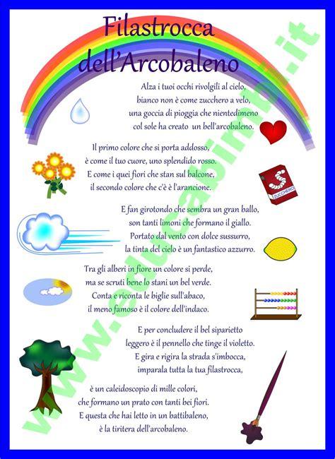 l arcobaleno testo filastrocca arcobaleno filastrocca per bambini filastrocche