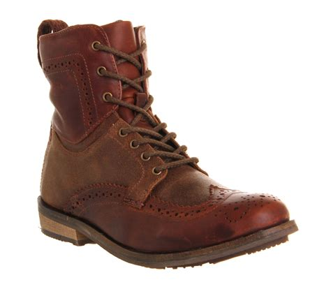 mens ask the missus keaton brogue boot brown leather boots