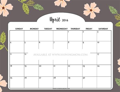 printable calendar 2016 pretty pretty april 2016 calendar calendar template 2018