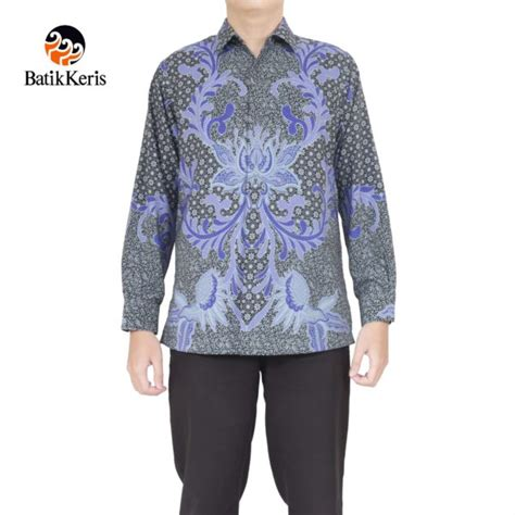 Kemeja Formal Katun Kemeja Lengan Panjang Kodekl004 kemeja batik formal lengan panjang motif bunga berjaya
