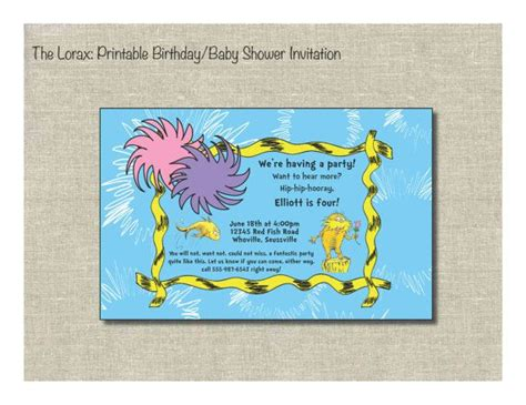 printable lorax invitations pinterest discover and save creative ideas