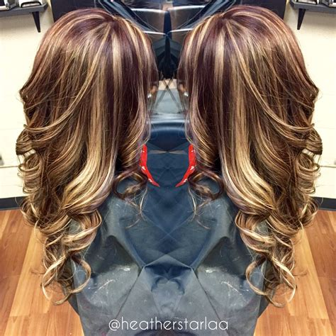 pictures of hair dark with blonde highlights over the top all over blonde highlight with a brown red base hair by