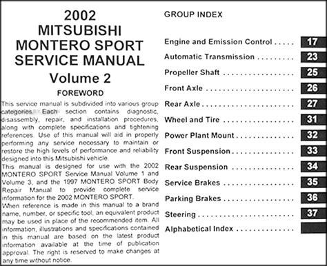2002 mitsubishi montero sport repair shop manual original set