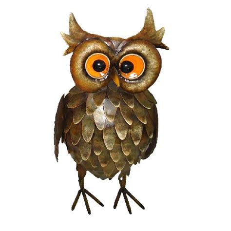 Garden Owls Ornamental Feathered Owl Small Metal Garden Ornament