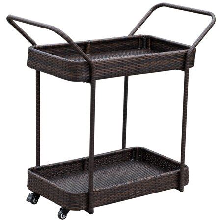 patio serving carts on wheels sundale outdoor deluxe patio resin wicker serving bar cart