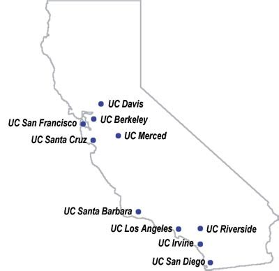 uc map california colleges uc cus locations