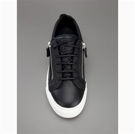 black leather sneakers mens giuseppe zanotti shoes s low cut zip leather sneakers