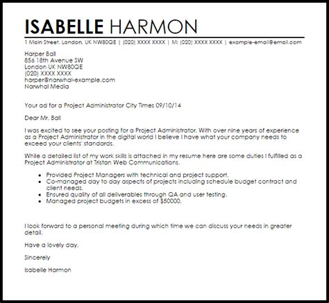 cover letter for an administrator project administrator cover letter sle livecareer