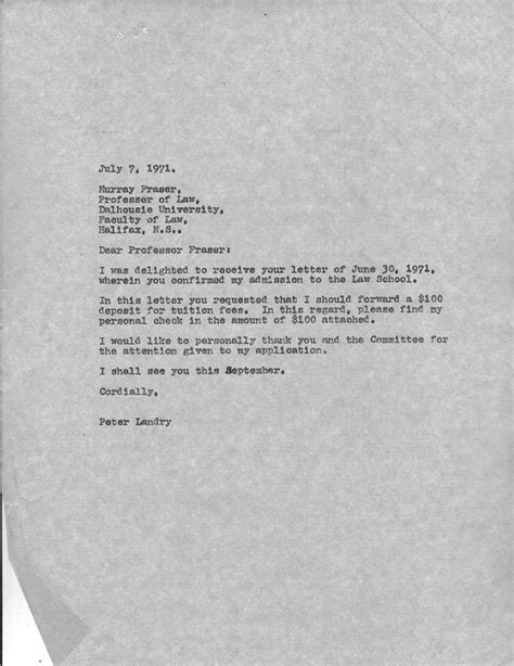 School Acceptance Letter Reply Memoirs Or Shadows Of What Has Been School 1971