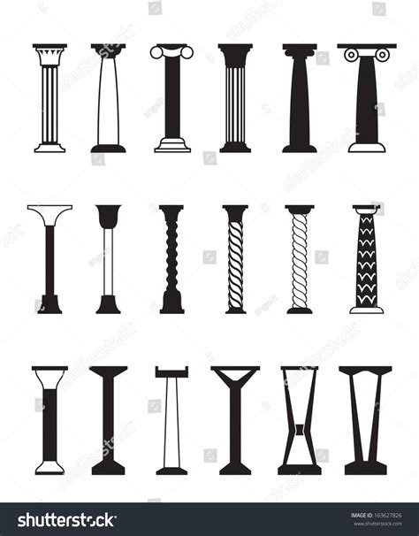 different styles of architecture different types columns vector illustration stock vector