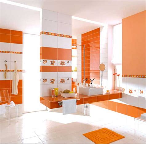 badezimmer deko orange ideen f 252 r badezimmer fliesen mit keramikfliesen in orange