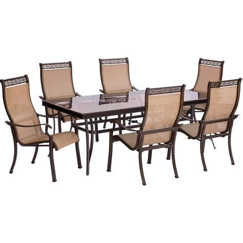30 wide outdoor dining hanover monaco 7 piece aluminum outdoor dining set with