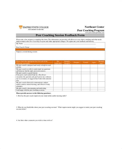7 Sle Coach Feedback Forms Sle Templates Coaching Form Template
