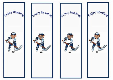 free printable hockey bookmarks hockey bookmarks birthday printable