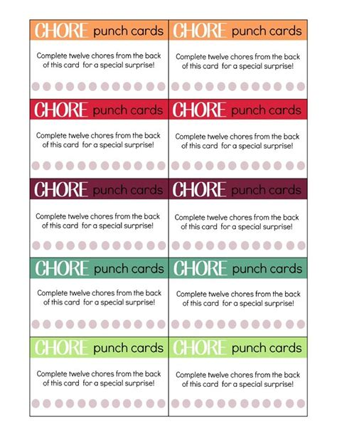 printable chore punch cards  kids  craftily