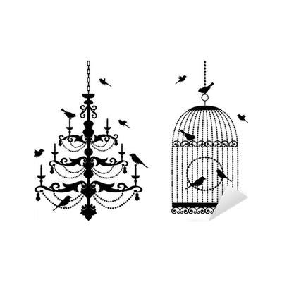 kronleuchter im käfig aufkleber vogelk 228 fig und kronleuchter mit v 246 geln vektor