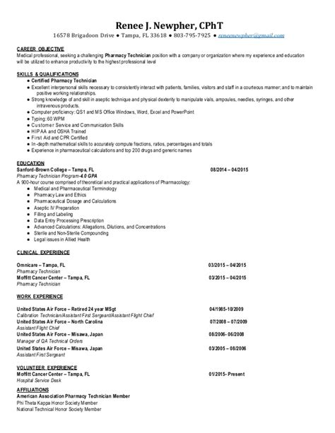 Iv Pharmacy Technician Resume by Cpht Pharmacy Technician Resume 2015 Renee Newpher
