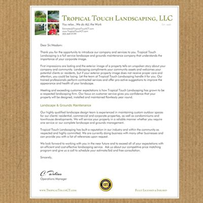 Business Referral Introduction Letter landscape architects landscaping company