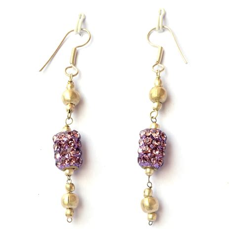 Handcrafted Earrings - handmade earrings purple rhinestone bead maruti
