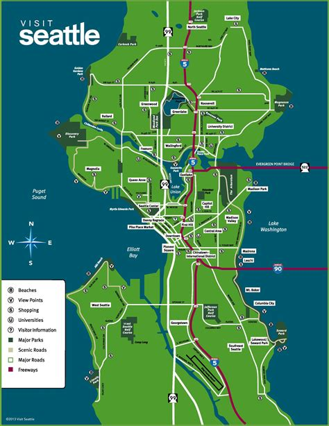 seattle map of usa seattle neighborhood map