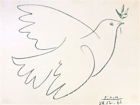 picasso paintings dove pablo picasso peace dove lithograph lot 1075