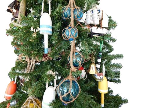 light blue tree ornaments light blue glass and rope floats tree ornament