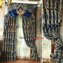 Blue And Gold Valance Pin Cheap Curtains With Circle Motif On
