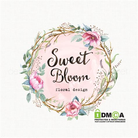 design logo flower watercolor flower logo with frame premade logo design