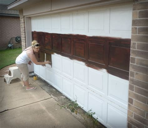 faux garage door painting made to diy faux wooden garage door