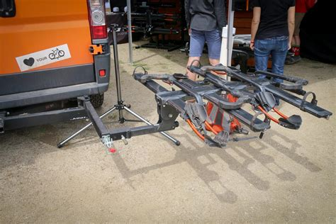 swinging bike rack soc17 kuat pivot turns any 2 quot rack into a swing away