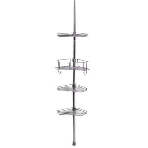 zenith bathtub and shower pole caddy zenith metal tension mount pole shower caddy in chrome