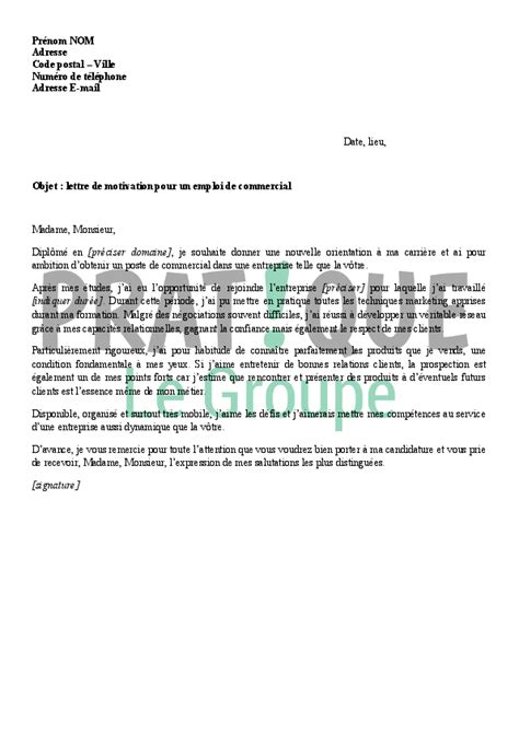 Exemple De Lettre Commercial Lettre De Motivation Pour Un Emploi De Commercial Pratique Fr