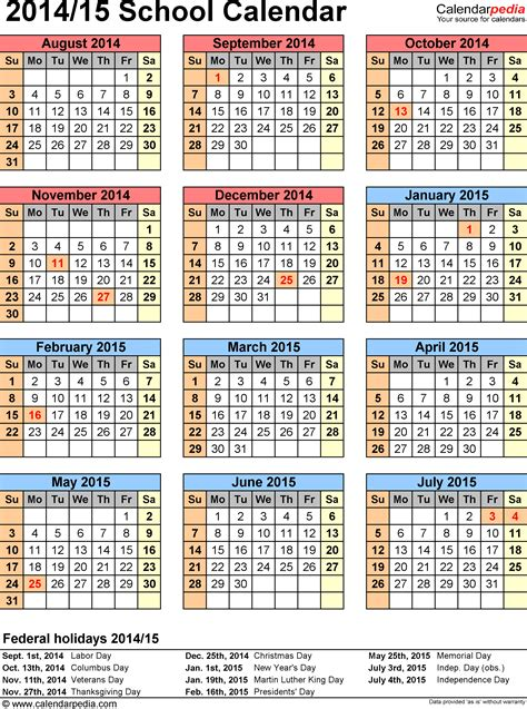 academic calendar template 2014 15 school calendars 2014 2015 as free printable excel templates