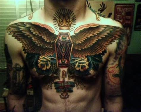 egyptian chest tattoos color ink on chest
