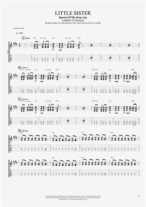 guitar lesson queens of the stone age little sister by queens of the stone age full score